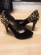 Sam Edelman Roza Lorissa Gold-Studded Black Velvet Heels Sz 7.5