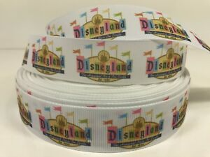 "By The Yard 1"" Inspired by Printed Pastel Disneyland Sign Grosgrain Ribbon Lisa"