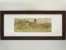 GRANDE LITHOGRAPHIE ORIGINALE ENCADREE, Harry Eliott, cavaliers,diligence,chiens