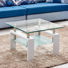 High Gloss Coffee Side End Table Nested of Table Glass Furniture Living Room MDF