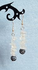 Dragons vein agate gemstone and rock crystal drop earrings silver plated