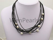 Floating pearl and leather Necklace,Multi-Strand Pearls necklace