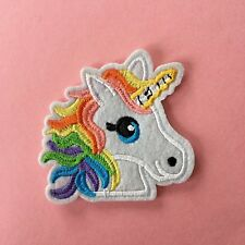 BRIGHT RAINBOW UNICORN EMBROIDERED APPLIQUÉ PATCH SEW OR IRON #321