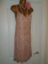 Stile 1920s Selfridge Miss Gatsby Flapper Charleston Paillettes Perline Abito Taglia 10