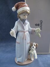More details for lladro dear santa figurine mint christmas letter to santa boy with dog
