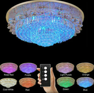 Luxury Living room K9 Crystal Chandelier LED Discoloration lamp ceiling lighting