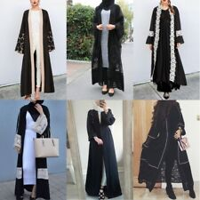 Dubai Lace Pearls Cardigan Women Muslim Open Front Abaya Islamic Long Maxi Dress