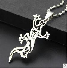 HOT lizard Womens Men's Silver 316L Stainless Steel Titanium Pendant Necklace