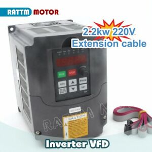 2.2KW 220V CNC Variable Frequency Driver VFD Inverter Converter 400Hz + 2M Cable