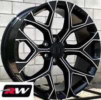"22 x9"" inch RW 5668 Wheels for Chevy Tahoe Black Milled Rims 6x139.7 +24 Set"