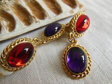 boucles d'oreille clips vintage strass rouge violet  pendante année 80 doré