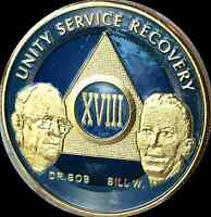 AA Founders 18 Year Chip Gold Plated Blue Alcoholics Anonymous Medallion Coin
