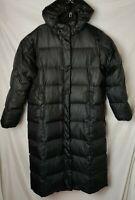 Eddie Bauer Goose Womens L Down Full Zip Black Puffer Long Coat Jacket Parka