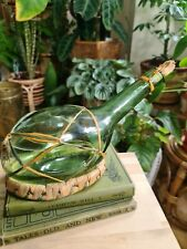 More details for vintage brevetto no 10.970 italian green glass bottle with wicker base /decanter