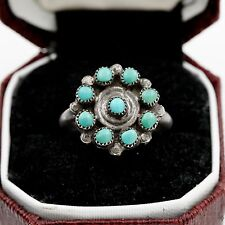 Antique Vintage Sterling Silver Native Pawn Navajo Petit Turquoise Ring Sz 5.25