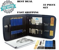 Professional Drawing Supplies Set Sketch Pencil Art Kit Tools Student Gift 33PCs