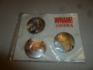 WHAM AMERICA BUTTON PIN LOT SET OF 3 GEORGE MICHAEL VINTAGE BADGE 1980S
