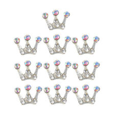 10Pcs Crown Flatback Embellishments Rhinestone Crystal Button Wedding Decor