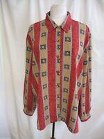Ladies Blouse Andrew Gee UK 22, burgundy/beige polyester, long sleeve 7234
