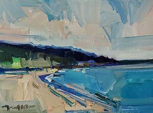 JOSE TRUJILLO Oil Painting IMPRESSIONISM Seascape 9X12 Modern ART signed COA