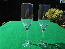 VINTAGE ENGLISH PAIR WEDGWOOD CRYSTAL CHAMPAGNE FLUTE GLASSES LIKE NEW