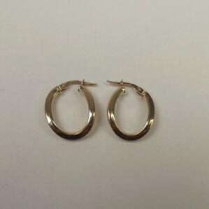 Pair Of 14ct Yellow Gold Oval Hoop Earrings