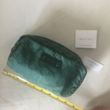 Gucci GG monogram hunter green nylon and leather make-up pouch - new w/tags