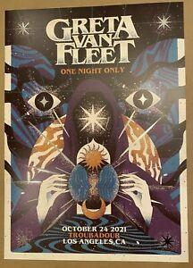 Greta Van Fleet October 24, 2021 Troubadour Tour Poster LE Print