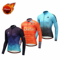 Winter Bicycle Clothing Men's Long Sleeve Thermal Fleece Cycling Jersey Top