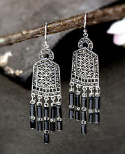 T09 Earrings Antique Style Agate Black 925 Sterling Silver
