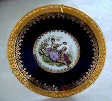 Limoges Fm Plate W Stand Cobalt Blue & Gold Romantic Couple Scene 4 ¾� Mint