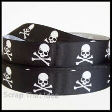 "Skull & Crossbones  RIBBON.  7/8"" Grosgrain.  BLACK. Scrapbooking/ Craft. Pirate"