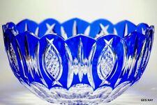 Cobalt Blue Cut to Clear Bohemian Czech Crystal Centerpiece Bowl Vase