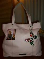 BETSEY JOHNSON PINK BETSEY'S POP LEATHER TOTE W/BUTTERFLY FOB-MSR P$238-BNWT