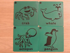 Set of 4 animal rubbing plates - Octopus, Whale, Penguin & Crab