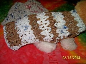 BROWN AND WHITE Dog Sweater made w/100% RECYCLED shopping bags XS