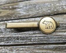 Handmade Handstamped Bronze Bear Tie Bar Clip