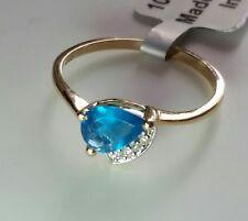 10K Yellow Gold NEON APATITE & DIAMOND RING SIZE 6 / Anillo do Oro