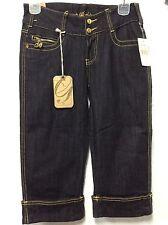Damen Capri Hose Jeans G-Unit Gr. 1 Rinse Schwarz Gold Naht sexy NWT 132