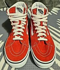 CLEAN!! Red Suede VANS High-Top SNEAKERS!! Mens Teen boys Shoes Size 7.5 Skater