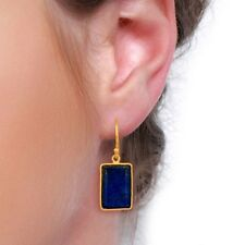 Natural Lapis Lazuli 18K Gold Plated 925 Sterling Silver Dangle Earrings Jewelry