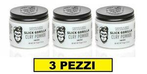 3 PEZZI SLICK GORILLA CLAY POMADE 70gr 2.5oz POMADE ALL'ARGILLA CERA PER CAPELLI