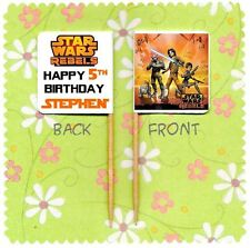 20 PERSONALISED STAR WARS REBELS CUP CAKE FLAG Party Pick Topper Birthday