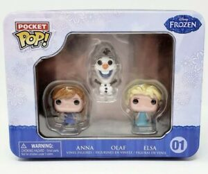 Disney FROZEN Pocket Pop 3 Mini Figure Tin Anna Olaf Elsa NEW Funko