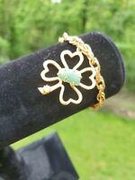 Vintage Gold Tone 4 Leaf Clover Lucky Charm Bracelet Green Stone St Patricks
