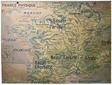 LARGE FRENCH SCHOOL Aid Geographic MAP OF FRANCE Art deco period 1930 Delagrave