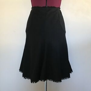 Banana Republic Women Sz 4 Flare Skirt Black Wool Blend Raw Trim Hem Lined