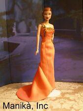 OOAK Orange Silk One-Shoulder Gown fits Silkstone,Fashion Royalty &12-inch dolls