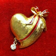Vintage*TANCER II*Signed*HEART Brooch/Pin*Enamel Ribbon & Bow*Hanging Crystal