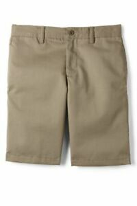 Lands' End Boys Cotton Plain Front Chino Shorts Khaki 14 # 231164